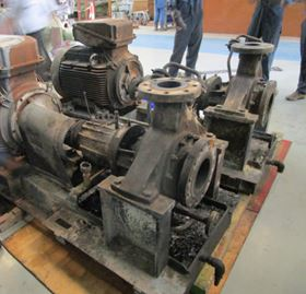 Two fire damaged pumps